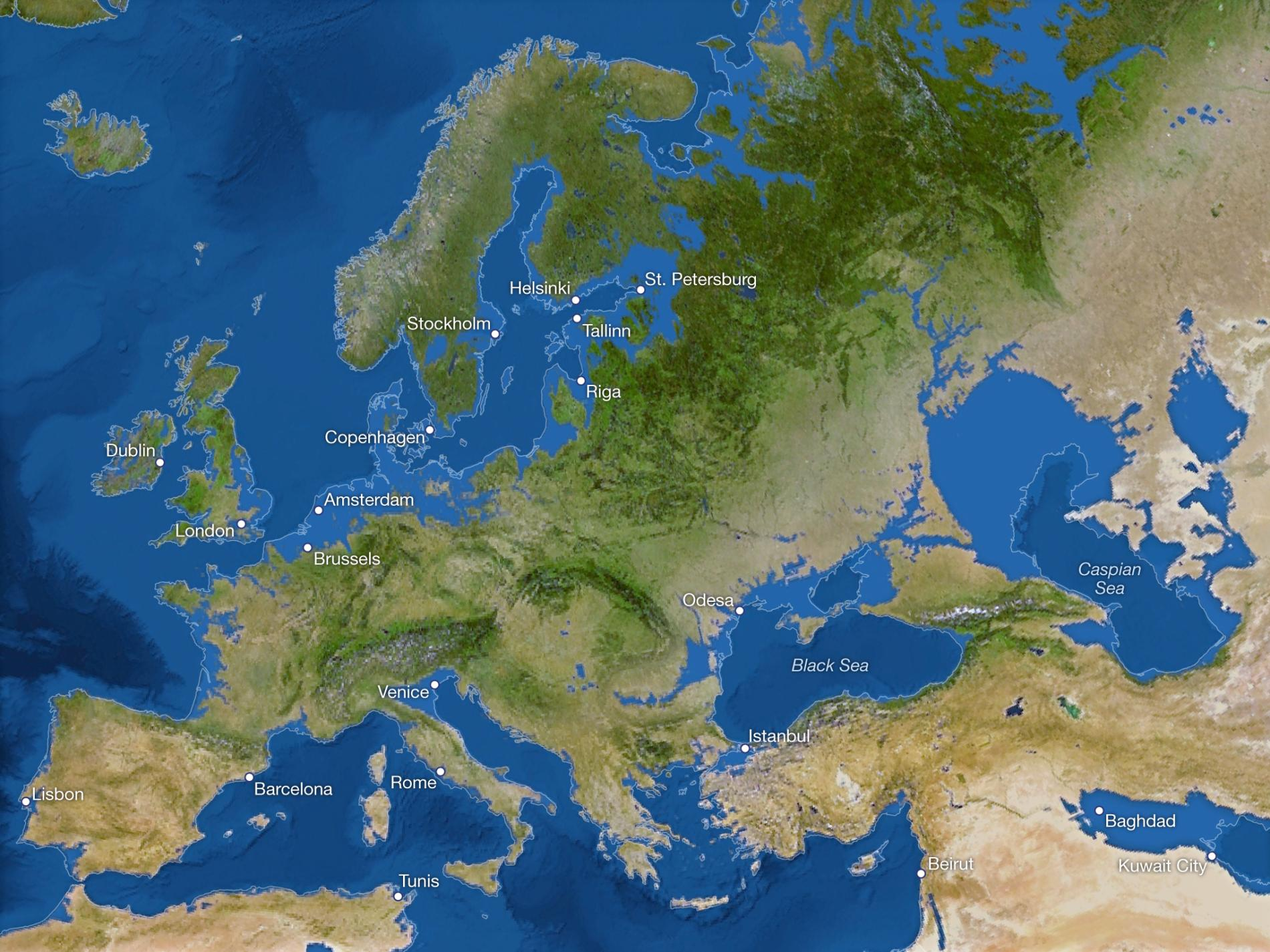 Coastlines of Europe of all glaciers were to melt. Source: National Geographic.