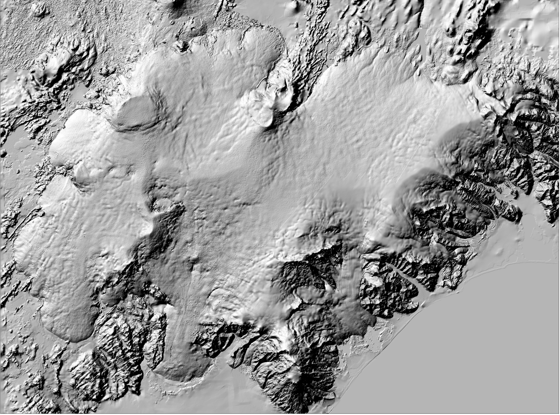 Lidar digital elevation model of Vatnajökull ice cap 2010–2012. Source: Data set of the Icelandic Meteorological Office and Institute of Earth Sciences, University of Iceland.