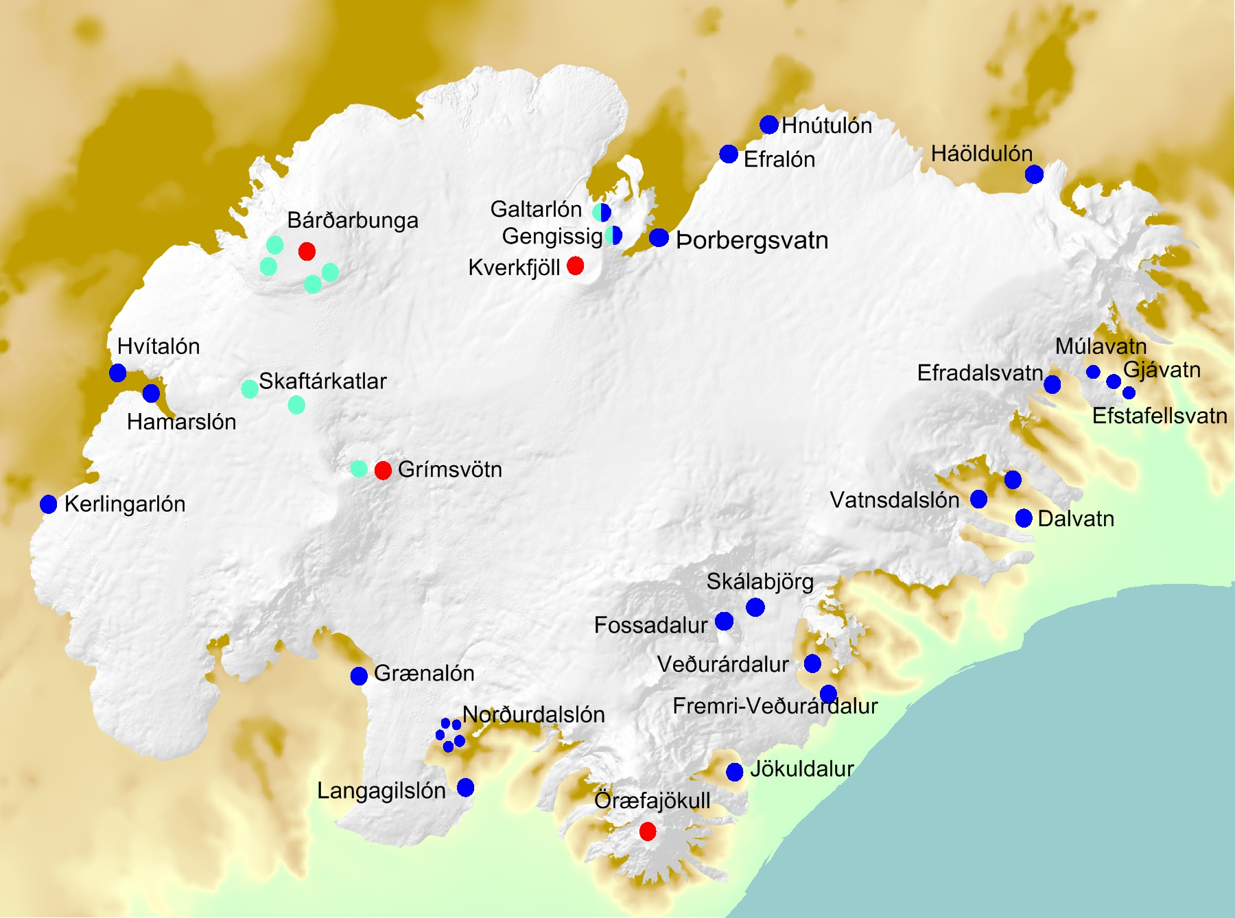Map showing the origin of jökulhlaups in Vatnajökull. Red: subglacial eruptions, blue: ice-dammed lakes (present and previous), green: subglacial geothermal activity, however Gengissig lake in Kverkfjöll,  is also ice-dammed.