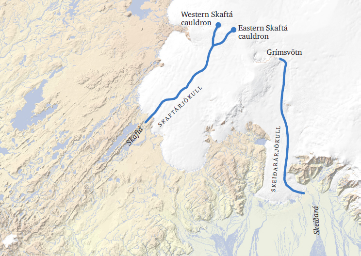Locations of the Grímsvötn volcanic caldera and the Skaftárkatlar geothermal fields in western Vatnajökull and the flow paths of jökulhlaups from the subglacial lakes at these sites. Source: Icelandic Meteorological Office and Institute of Earth Sciences, University of Iceland.
