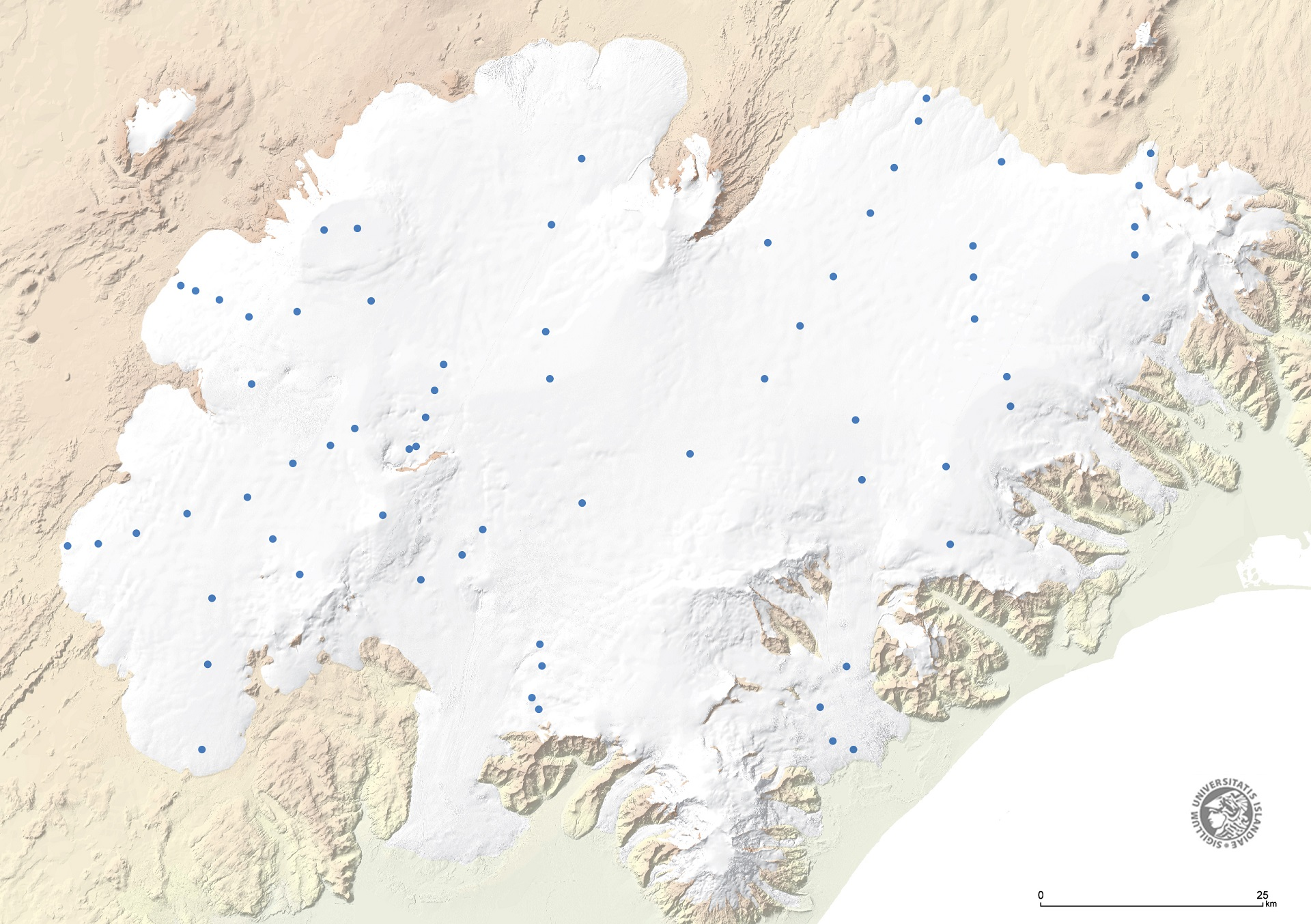 Mass balance measurement sites on Vatnajökull. Source: Glaciology Group, Institute of Earth Sciences, University of Iceland.