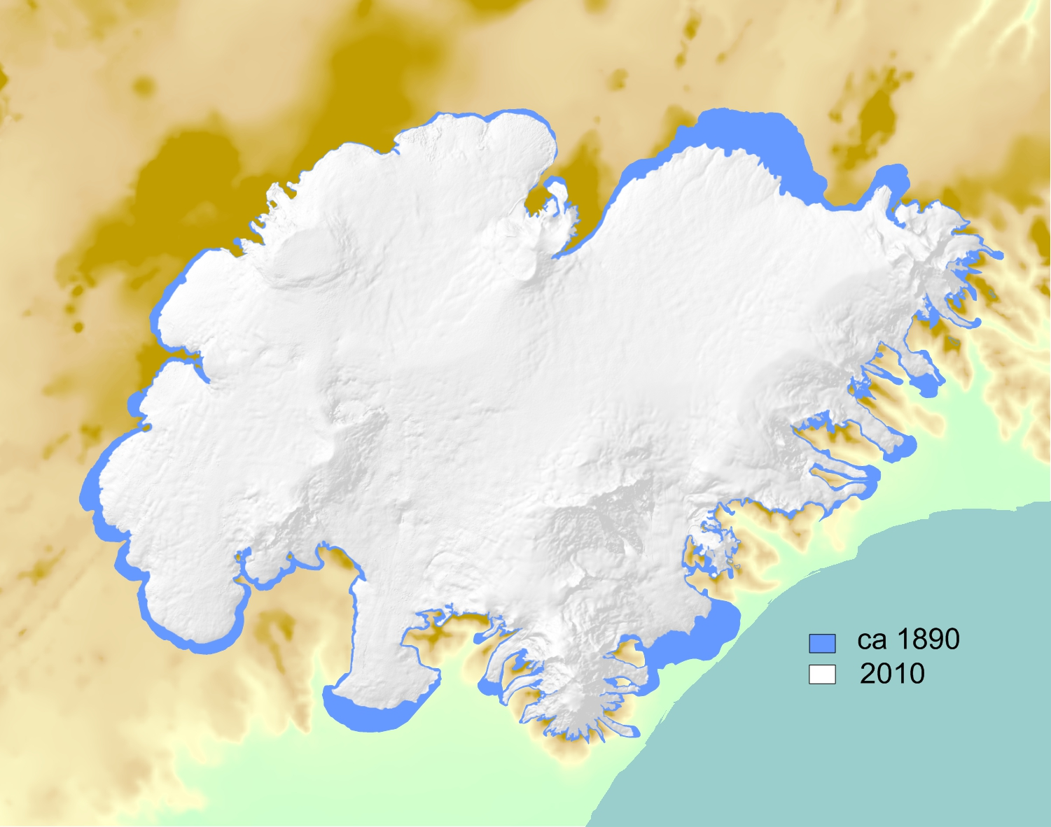 Outline of Vatnajökull ca 1890 and 2010. Source: Icelandic Meteorological Office and Institute of Earth Sciences.