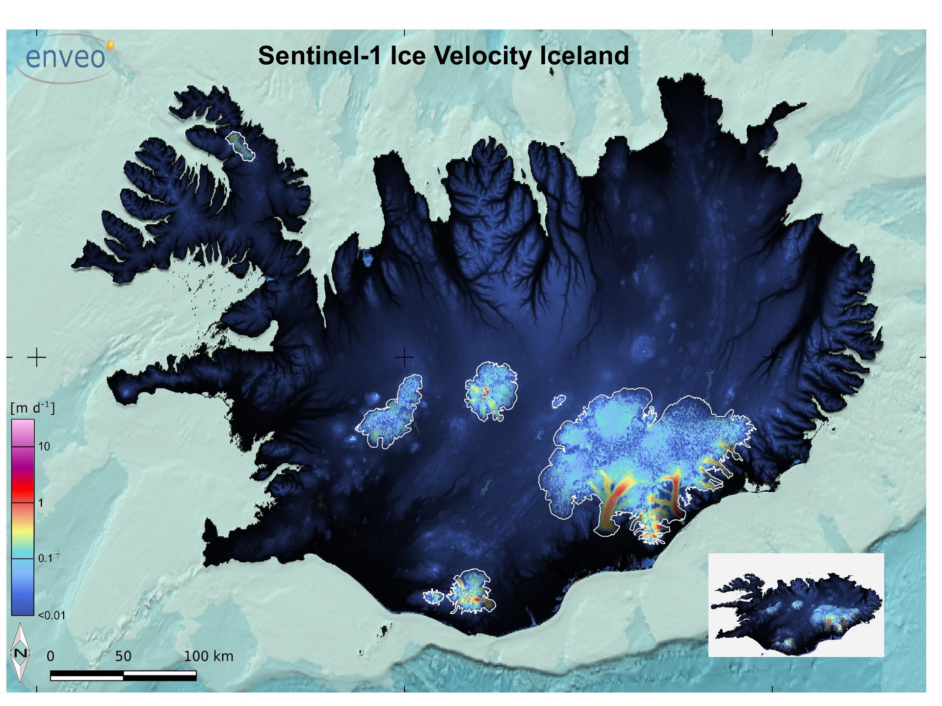 Two velocity maps of Skeiðarárjökull derived from satellite images, showing the variation in glacier surface velocity. The horizontal velocity field of the outlet glacier at the end of December (a) and during the beginning of the 1996 jökulhlaup (b). The blue line shows the estimated flood path. Source: Magnússon et al. (2007).