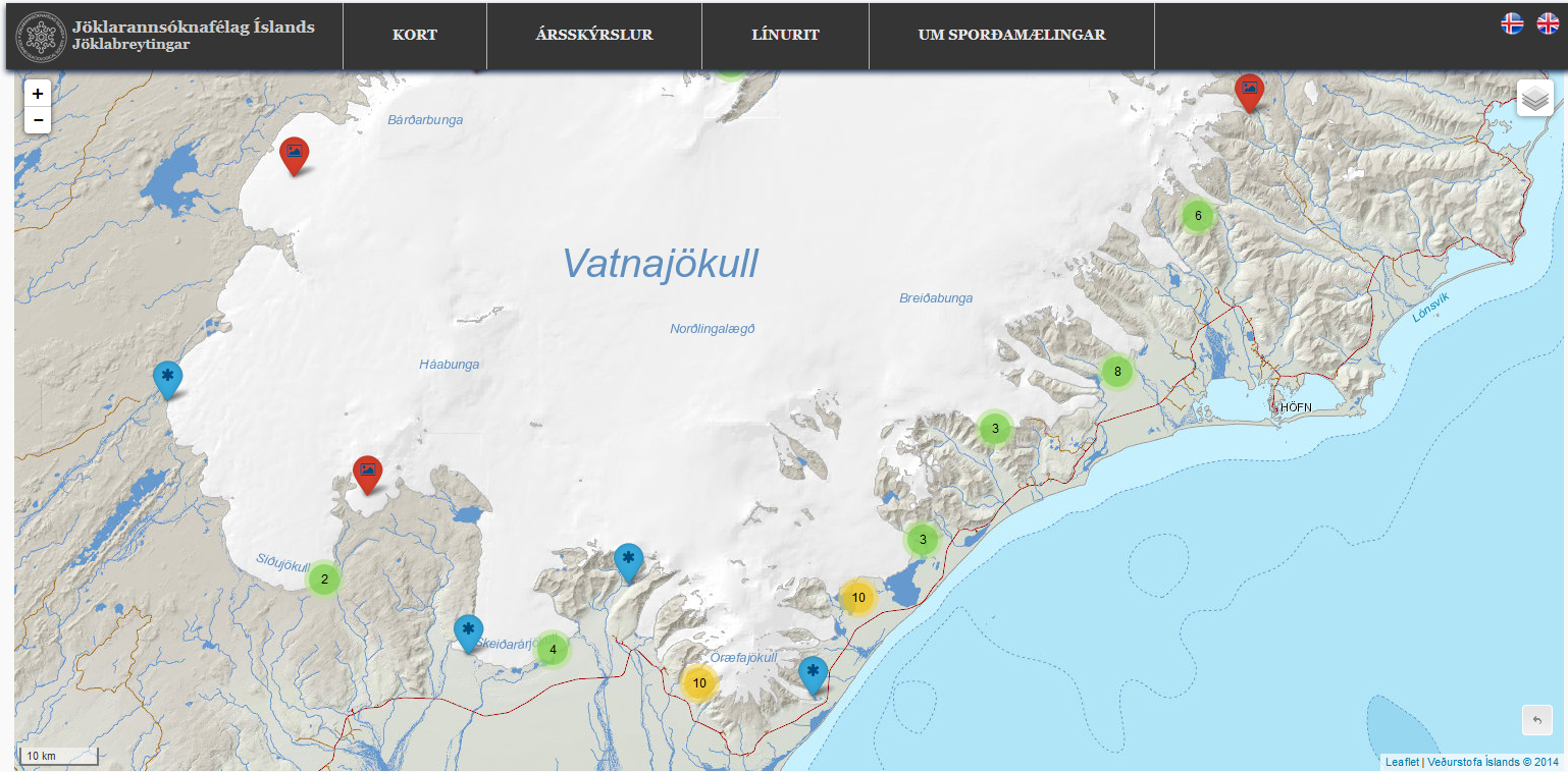 Screen shot from the website spordakost.jorfi.is of the Icelandic Glaciological Society, showing the measurement sites along the southern border of the ice cap.