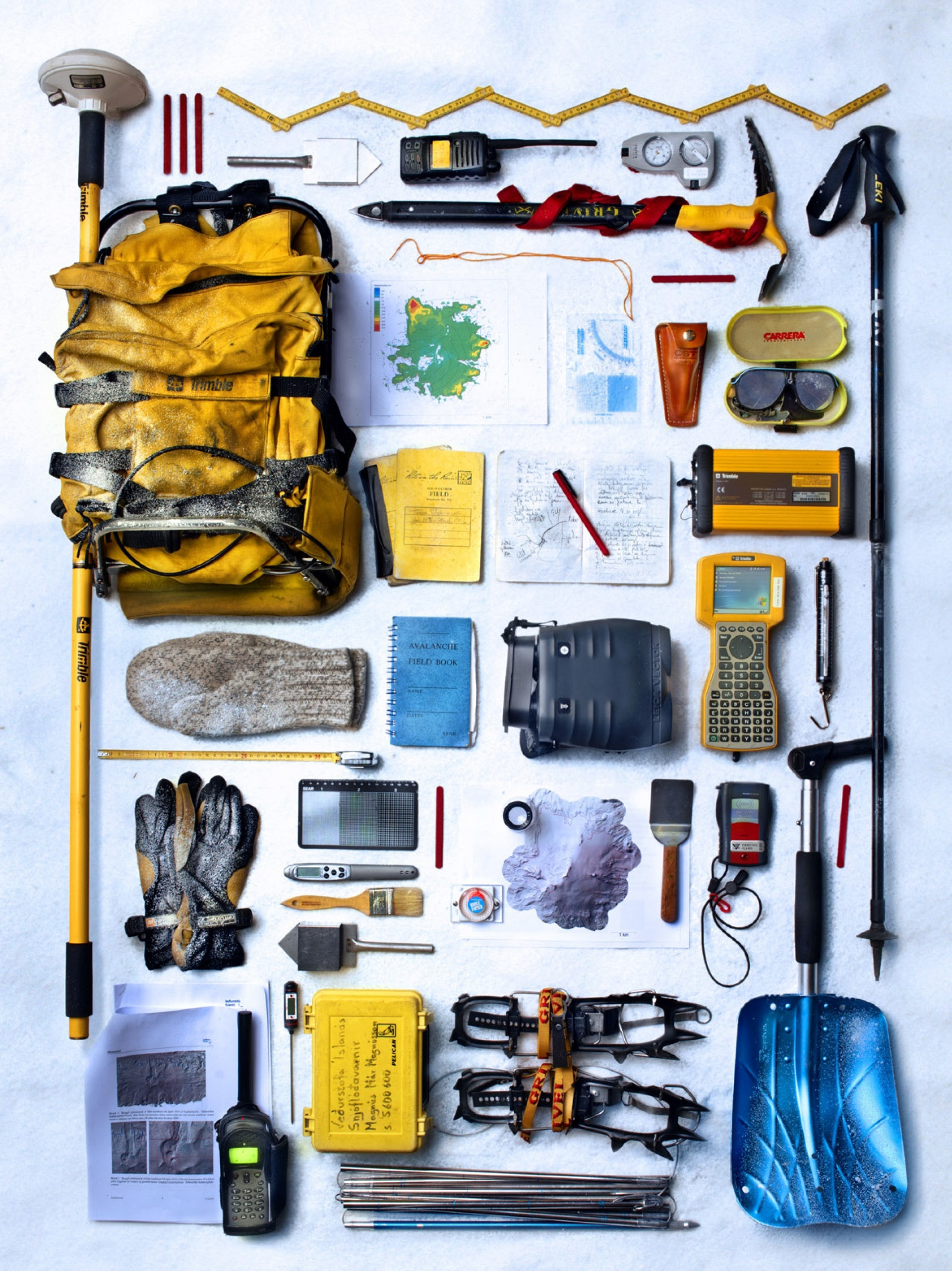 Field equipment and instruments used for glaciological research.