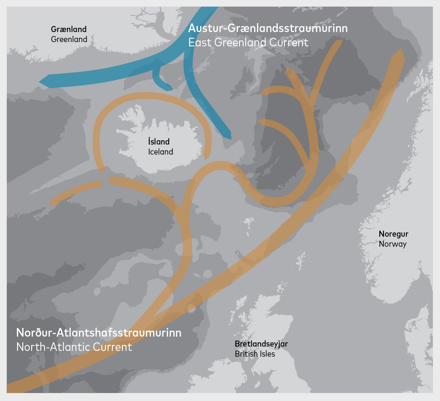 Main ocean currents in the North Atlantic. Source: Stefánsson (1999).
