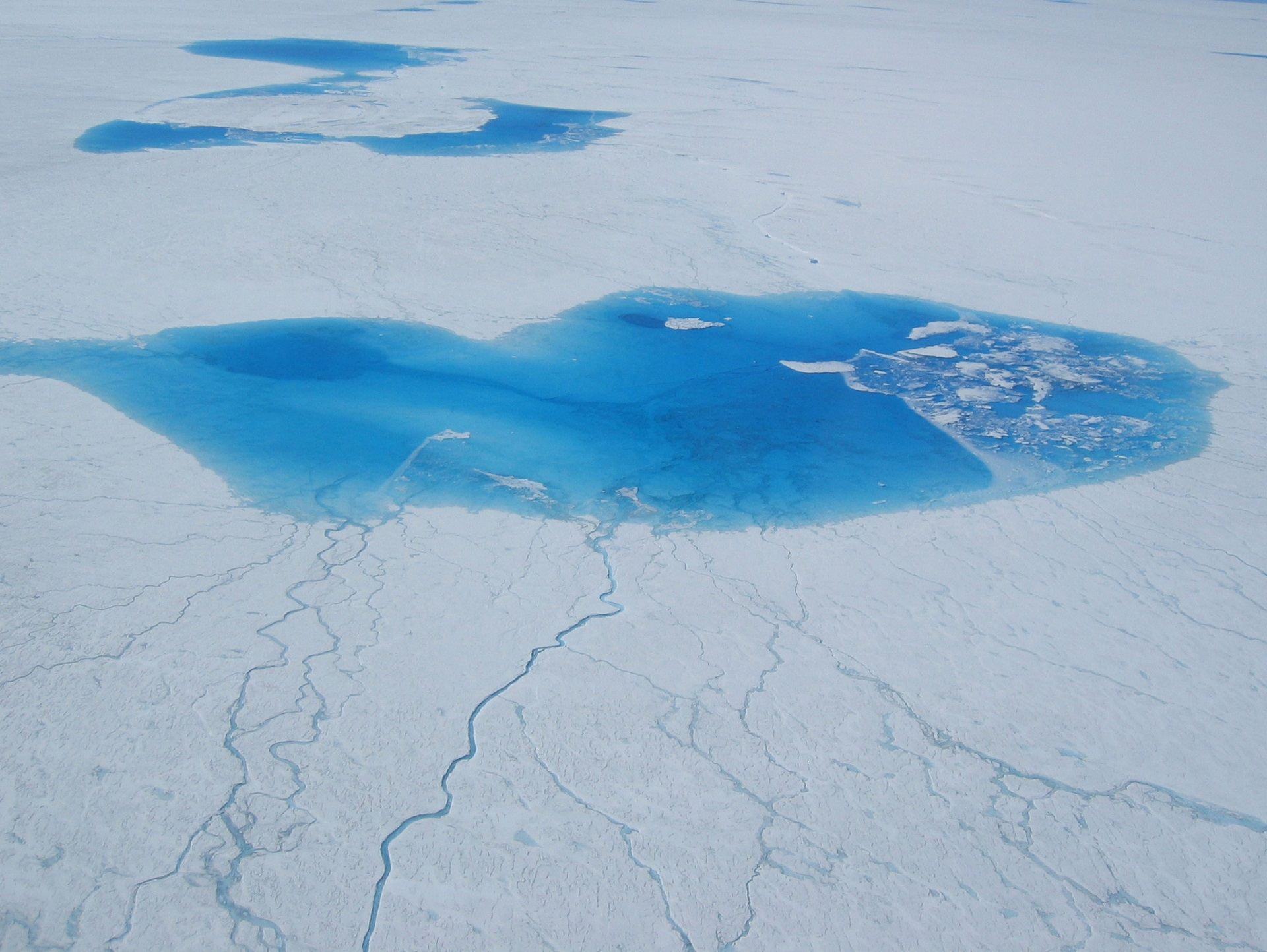 Surface lakes in Greenland. Photo: Joughin/UW Polar Science Center.