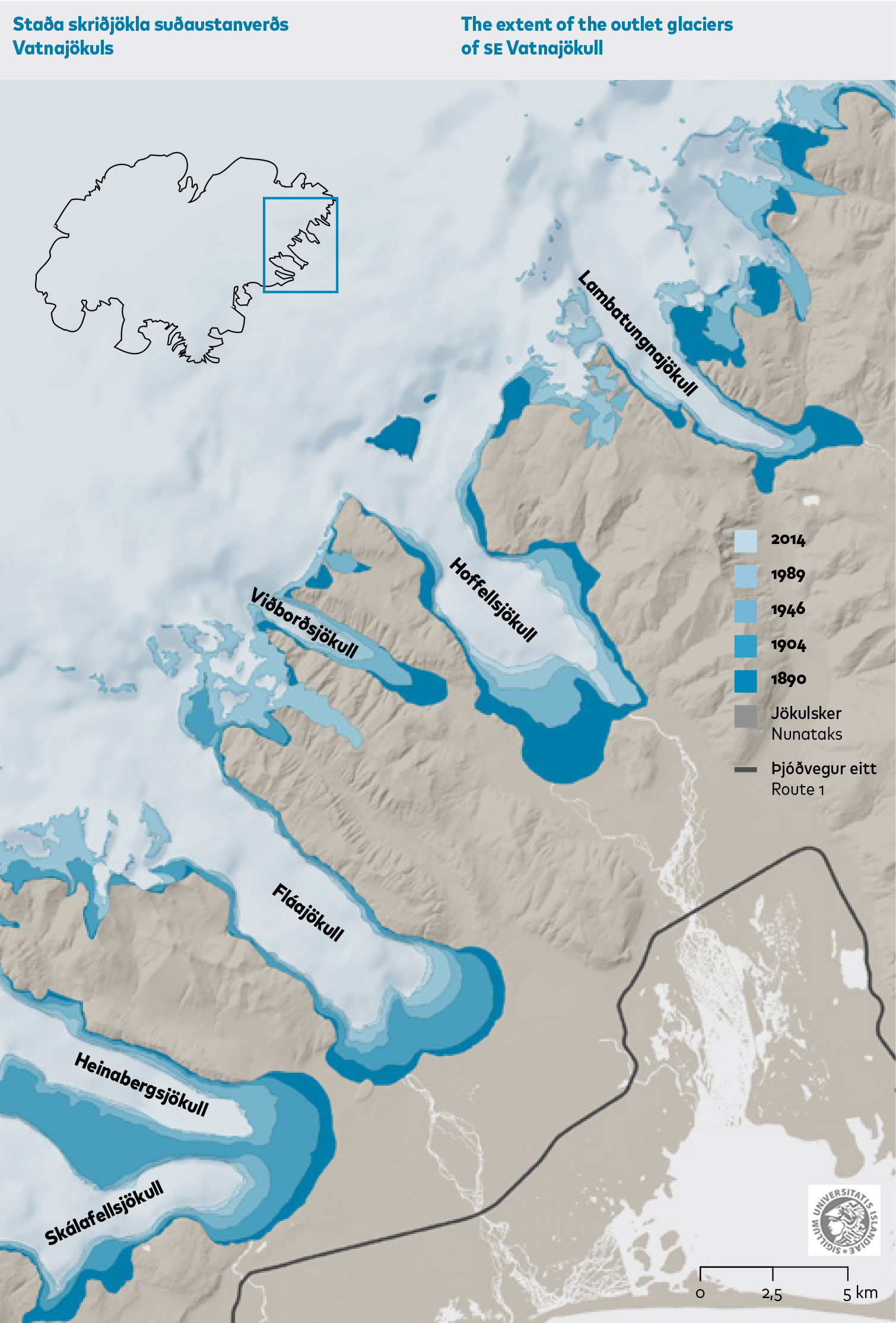Map showing the southern outlet glaciers of Vatnajökull ice cap and their extent from ca. 1890 to 2010. Source: Hannesdóttir et al. (2015a).
