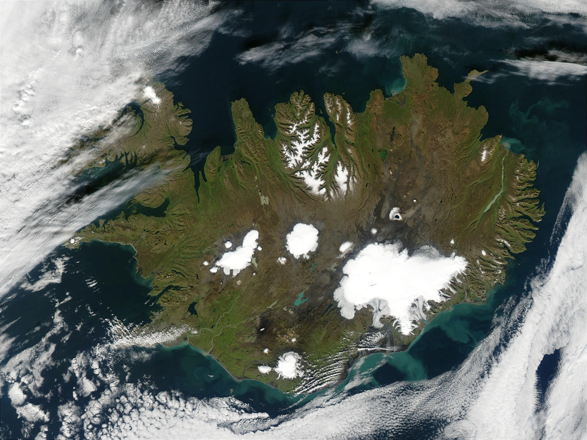 MODIS satelite image of Iceland showing the largest ice caps. Source: https://terra.nasa.gov/about/terra-instruments/modis.
