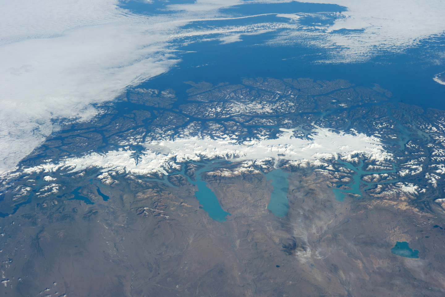 The Southern Patagonian icefield from space. Source: NASA Earth Observatory.