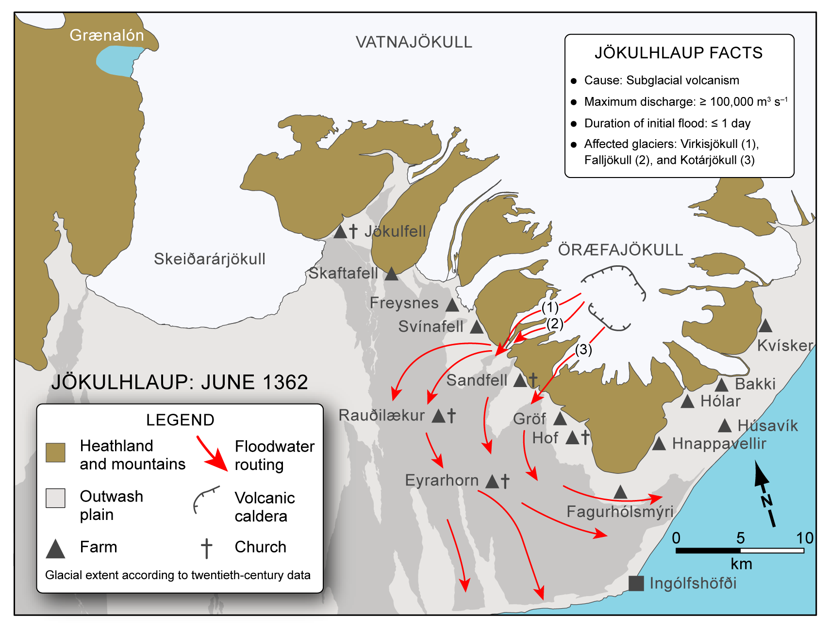 The jökulhlaup pathways following the eruption of Öræfajökull in 1362 according to studies of Sigurður Þórarinsson. Source: Guðmundsson et al. (2016).